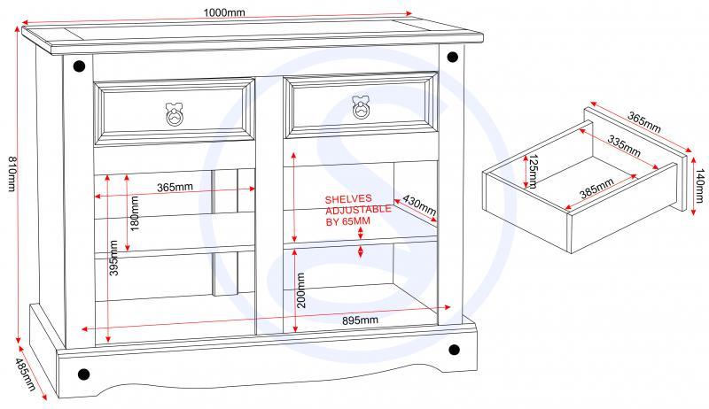 corona mexican pine sideboard 2 doors and 2 drawers