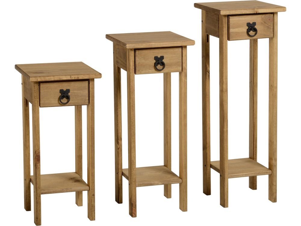 Corona Mexican Pine Plant Stands Set Of 3 One Stop Furniture Shop