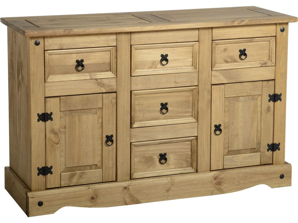 corona mexican pine sideboards 2 door 5 draw sideboard. Black Bedroom Furniture Sets. Home Design Ideas
