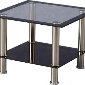 Black glass / Chrome Lamp Table