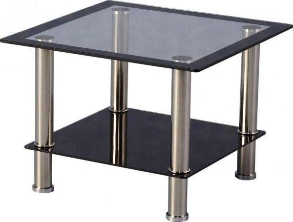 Black glass / Chrome Lamp Table