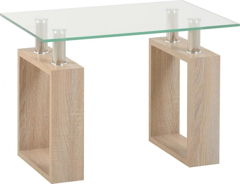 Oak And Glass Table Lamps: Sonoma Oak Glass Lamp Table