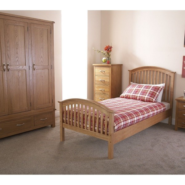 3' Single Wooden Curved High End Bed Frame - Oak