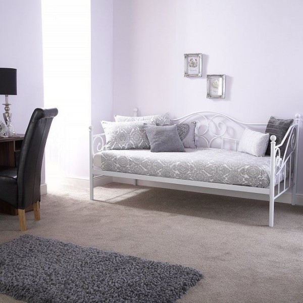 3' Single Elegant Day Bed Frame - White