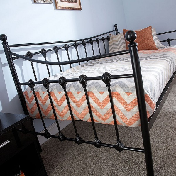 3' Single Metal Day Bed Frame - Black