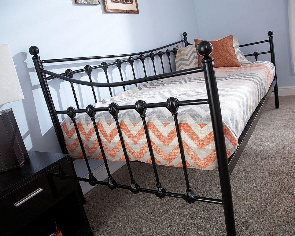 Black Metal Day Bed Frame Set - One Stop Furniture Shop