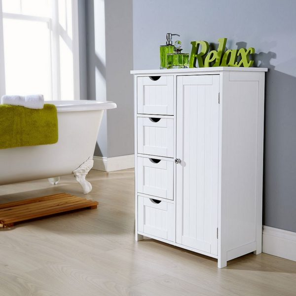 White Multi Storage Bathroom Unit