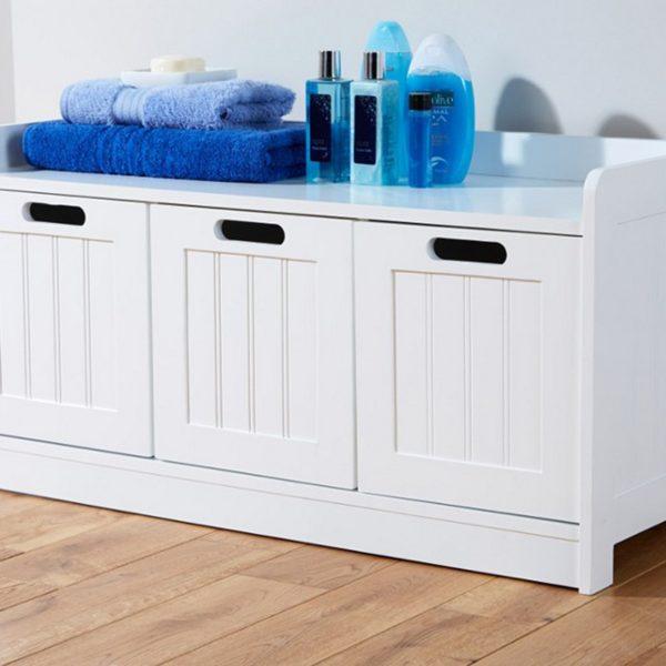 White 3 Door Storage Bench