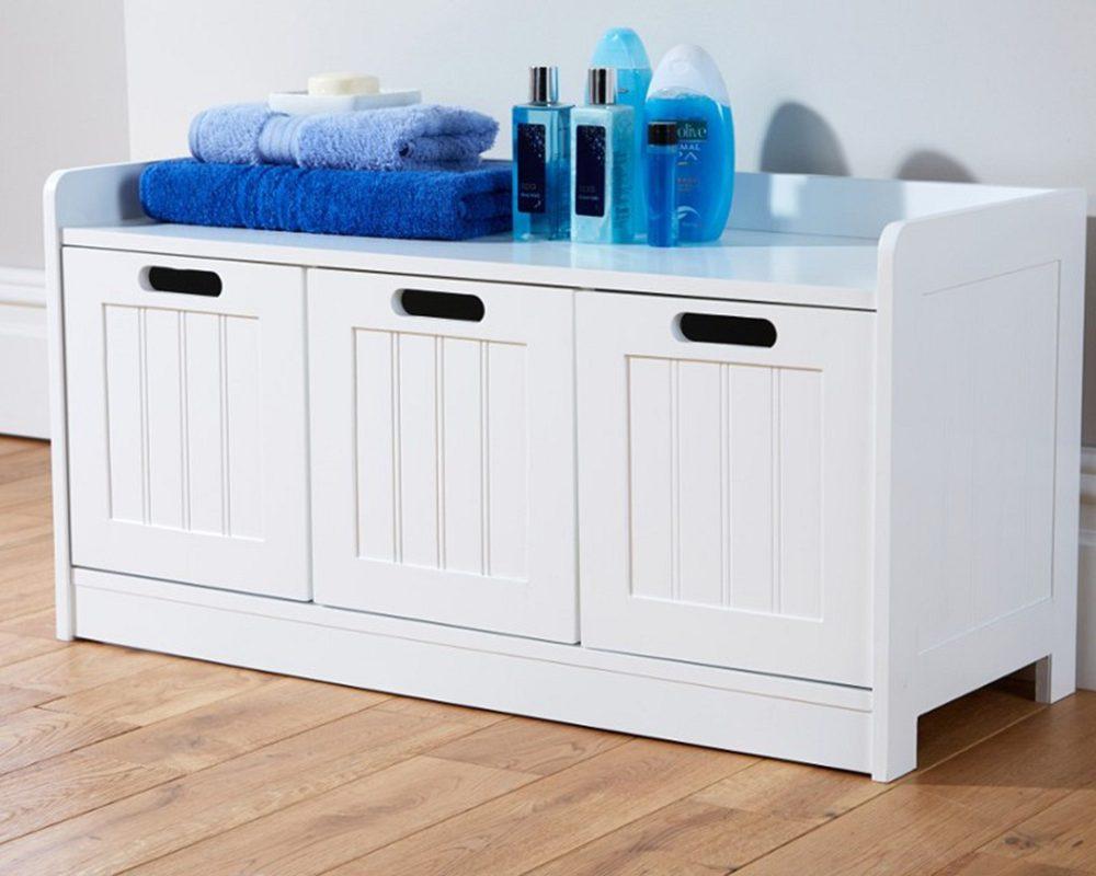 White Bathroom 3 Door Storage Bench - One Stop Furniture Shop