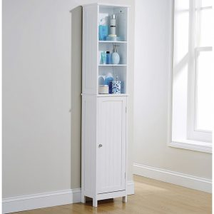 White Tall Cupboard - Colonial Bathroom Furniture