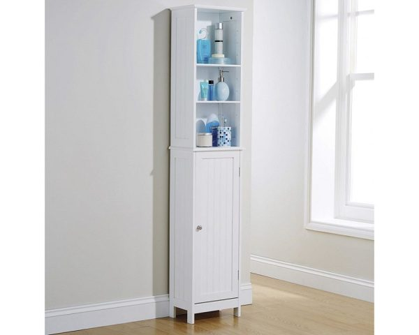 White Tall Cupboard - Colonial Bathroom Furniture