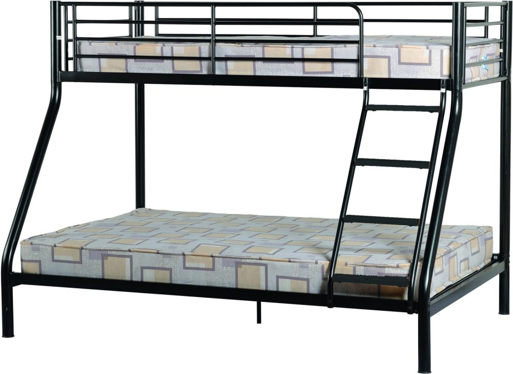 Black Triple Sleeper Metal Bunk Bed Frame One Stop Furniture Shop