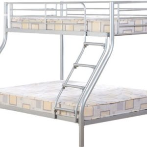 Silver Triple Sleeper Metal Bunk Bed Frame