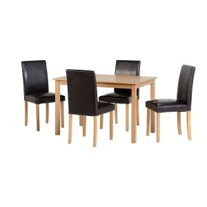 Ashmere Dining Set Ash Veneer/Brown Pu