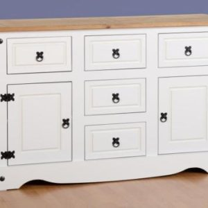 Corona White/Distressed Pine Sideboard 2 Door 5 Draw Sideboard