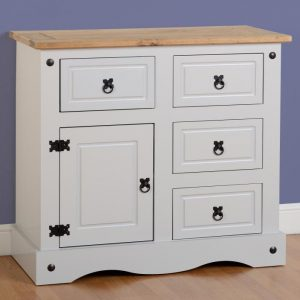 Corona Grey/Distressed Pine Sideboard 1 Door 4 Draw Sideboard