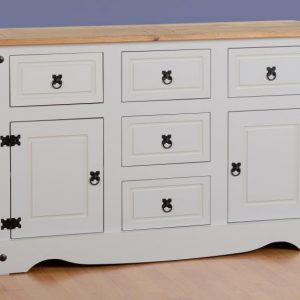 Corona Grey/Distressed Pine Sideboard 2 Door 5 Draw Sideboard