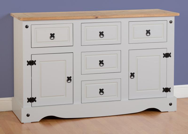 Corona Grey Distressed Pine Sideboard 2 Door 5 Draw Sideboard