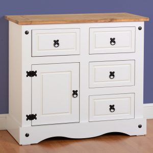 Corona White/Distressed Pine Sideboard 1 Door 4 Draw Sideboard