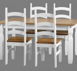 Corona White / Distressed Pine 4 Chair Dining Set