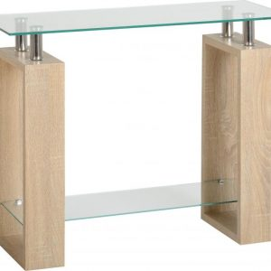 Sonoma Oak Glass Console Table