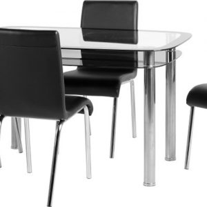 Clear Glass Black Border Chrome Dining Set