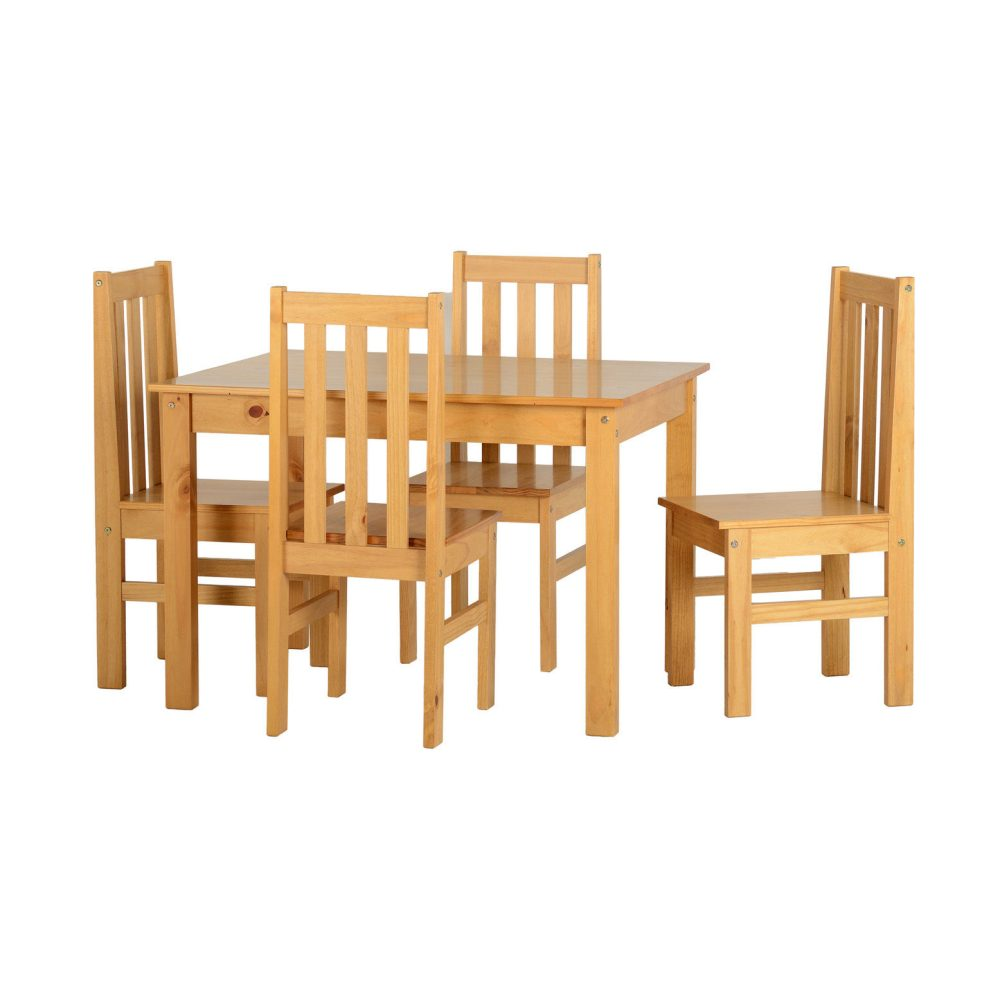 Wood dining table with 4 chairs in natural oak one stop - Natural wood dining chairs ...