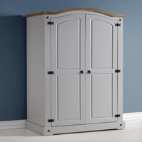 Corona Grey / Distressed Pine 2 Door Wardrobe