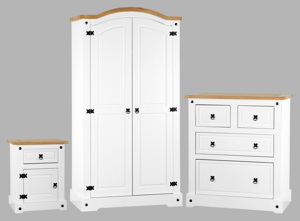 Corona white distressed pine bedroom set one stop for White bedroom furniture set