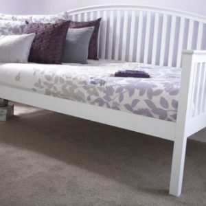 Curved Wooden Day Bed Frame in white