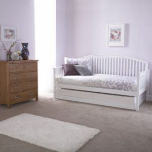 Curved Wooden Trundle Day Bed Frame