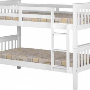 White Wooden Split Bunk Bed Frame