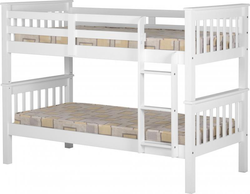 White Wooden Split Bunk Bed Frame One Stop Furniture Shop