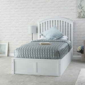 White Wooden Curved Ottoman Low End Bed Frame