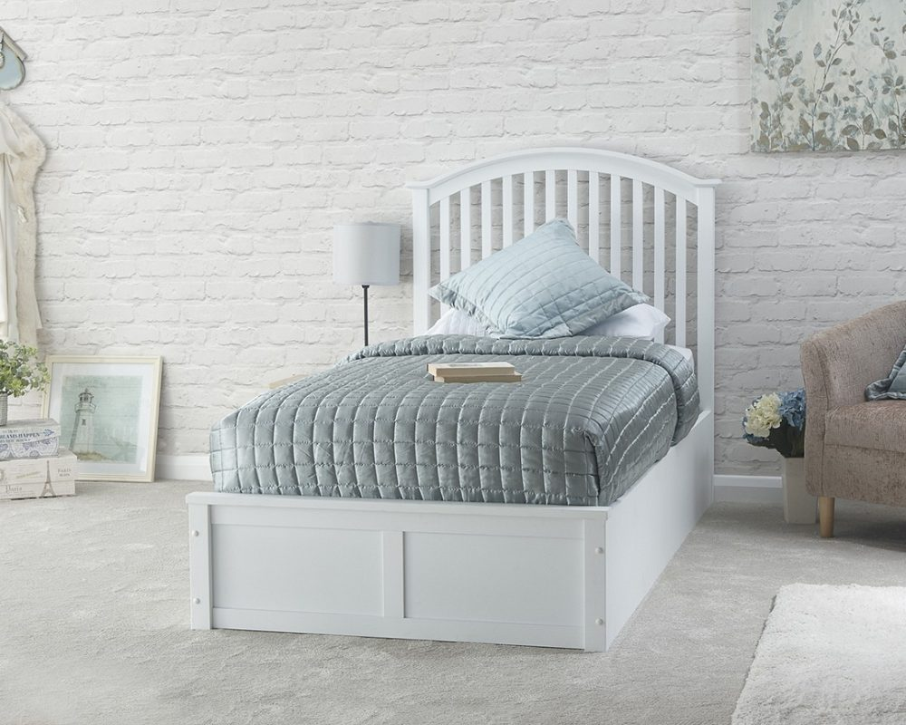 White Wooden Curved Ottoman Low End Bed Frame 3 Sizes