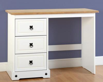 Corona White / Distressed Pine 3 Draw Dressing Table