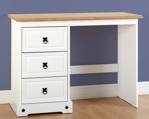 Corona White / Distressed Pine 3 Draw Dressing Table