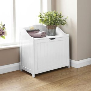 White Storage Hamper - Colonial Bathroom Furniture