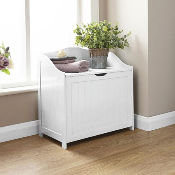 White Bathroom Storage Hamper - Colonial Bathroom Furniture