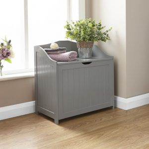 Grey Storage Hamper - Colonial Bathroom Furniture