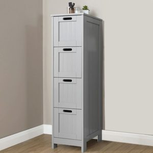 Grey 4 Drawer Slim Chest - Colonial Bathroom Furniture