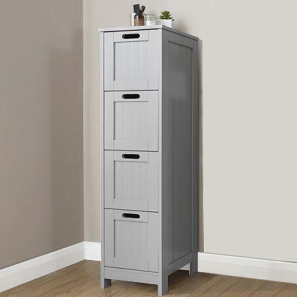 Grey 4 Drawer Slim Chest - Colonial Bathroom Furniture