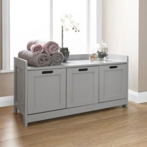Grey 3 Door Storage Bench
