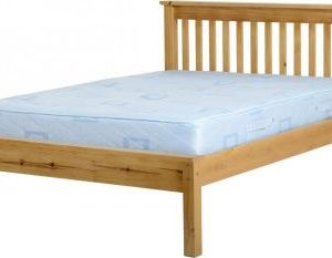 4'6 Double Wooden Low End Bed Frame - Distressed Pine