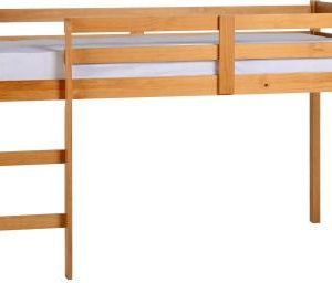 3' Single Antique Pine Wooden Mid Sleeper Bed Frame