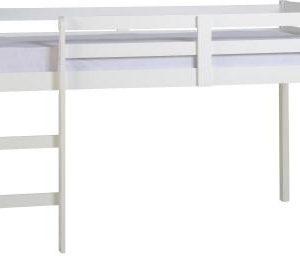 3' Single White Wooden Mid Sleeper Bed Frame
