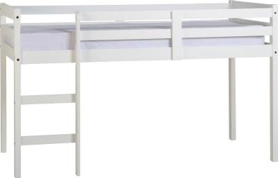 3' Single White Wooden Mid Sleeper Bed Frame