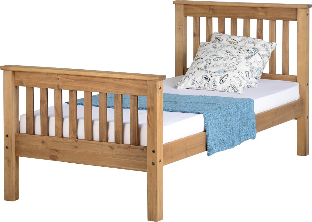 Distressed Pine Wooden High End Bed Frame   3 Sizes Available