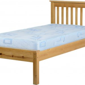 Antique Pine Wooden Low End Bed Frame