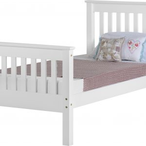 White Wooden High End Bed Frame